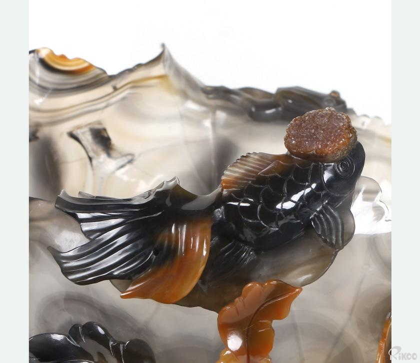 Carnelian Crystal Fish and Frog Writing-Brush Washer